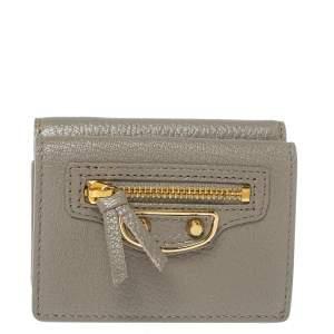 Balenciaga Gris Taupe Leather Mini Metallic Edge Wallet