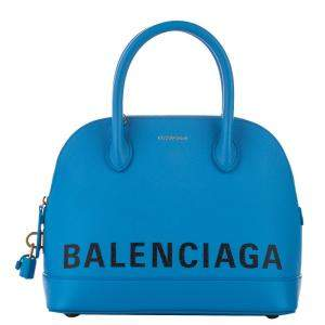 Balenciaga Blue/White Leather Ville Leather Satchel Bag