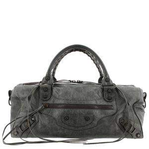 Balenciaga Grey Leather Motocross Twiggy Bag