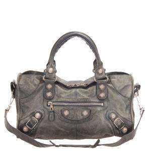 Balenciaga Grey Leather Motocross Classic City Giant 21 Satchel Bag