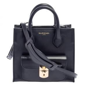 Balenciaga Dark Blue Leather Mini Padlock All Afternoon Tote