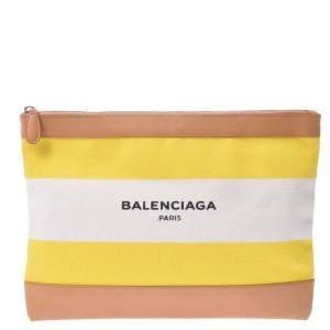 Balenciaga Yellow Leather Clip M Clutch Clutch