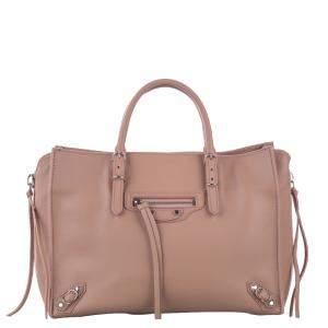 Balenciaga Beige Leather Papier A6 Zip-Around Satchel Bag