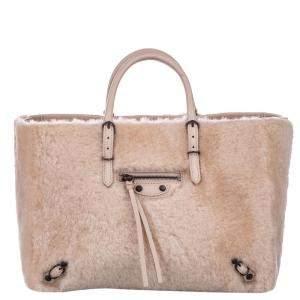 Balenciaga Pink Shearling Papier A6 Satchel Bag