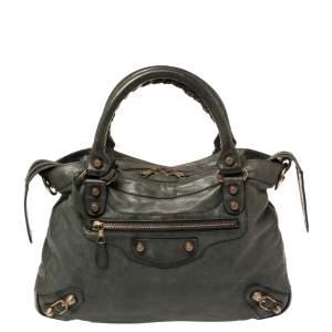 Balenciaga Olive Leather RH Town Tote