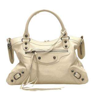 Balenciaga White Leather Motocross Classic Town Bag