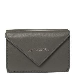 Balenciaga Gris Pyrite Leather Mini Papier Wallet