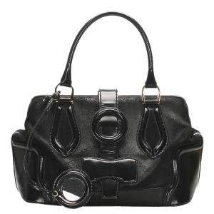 Balenciaga Black Patent Leather/Suede Sac Superb Bag