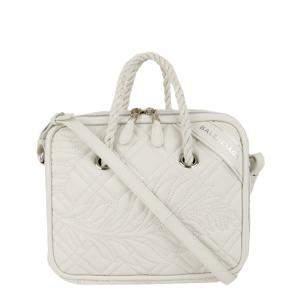 Balenciaga White Leather Blanket Square Bag