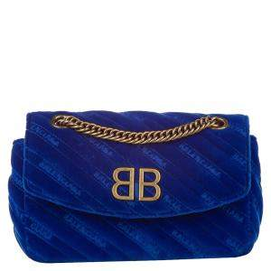 Balenciaga Blue BB Suede Crossbody Bag