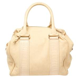 Balenciaga Cream Leather Satchel Bag