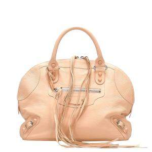 Balenciaga Beige Leather Motocross Classic City Bag