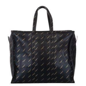 Balenciaga Black Lambskin Leather M Bazar Shopper Tote Bag