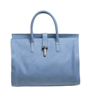 Balenciaga Light Blue Grain Leather Tube Round Tote