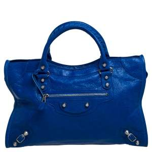 Balenciaga Electric Blue Leather RH City Tote