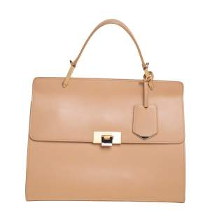 Balenciaga Beige Leather Le Dix Cartable Top Handle Bag