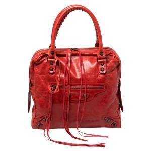 Balenciaga Blood Chevre Leather Mini RH Bowling Bag