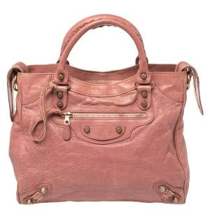 Balenciaga Pink Leather Motocross Classic City Bag