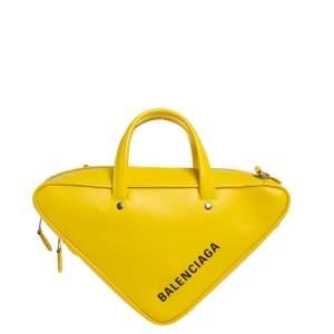 Balenciaga Yellow Leather Small Triangle Duffle Bag