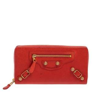 Balenciaga Rose Corail Leather City Zip Around Wallet