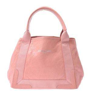 Balenciaga Pink Canvas Leather Cabas Tote