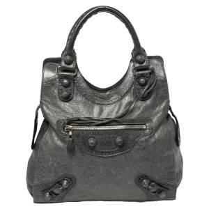Balenciaga Anthracite Leather Giant Covered Folder Bag