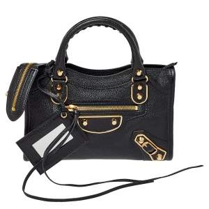 Balenciaga Black Leather Mini Classic Metallic Edge City Bag