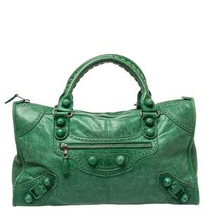 Balenciaga Vert Trefle Brogue Leather CGH Work Tote