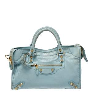 Balenciaga Turquoise Leather RH City Tote