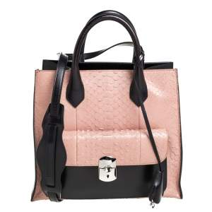 Balenciaga Black/Peach Leather and Python Padlock All Afternoon Tote