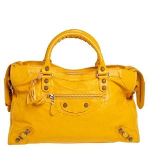 Balenciaga Mustard Leather RH City Tote