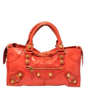Balenciaga Orange Leather GSH Part Time Tote