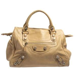 Balenciaga Beige Leather Giant 21 Motorcycle City Bag