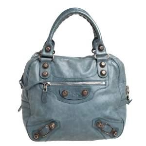 Balenciaga Grey Leather Giant Street Bowler Bag
