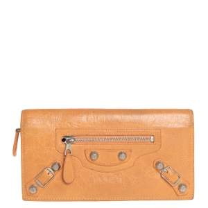 Balenciaga Orange Leather Classic Money RGH Continental Wallet