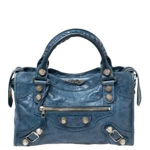 Balenciaga Blue Lambskin Leather Giant 21 Gold Motorcycle City Bag