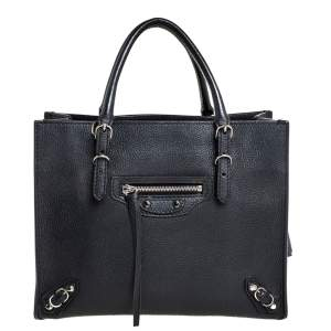 Balenciaga Black Leather Mini Papier A4 Tote