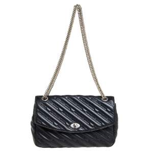 Balenciaga Black Leather Satin Scarf Medium Turnlock Shoulder Bag