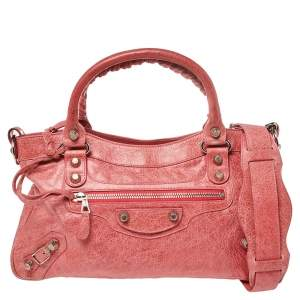 Balenciaga Pink Leather Giant 12 Gold Motorcycle First Bag