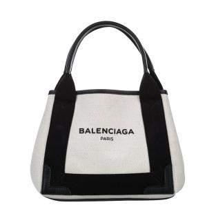 Balenciaga White Canvas Navy Cabas XS Tote Bag