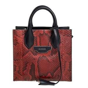 Balenciaga Black/Brown Python and Leather XS Work Tote Bag