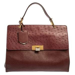 Balenciaga Maroon Leather and Ostrich Le Dix Cartable Top Handle Bag