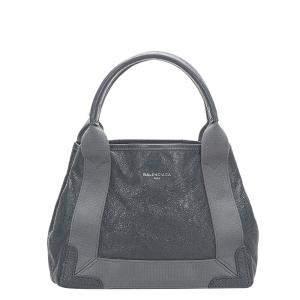 Balenciaga Black Calf Leather Navy Cabas XS Satchel