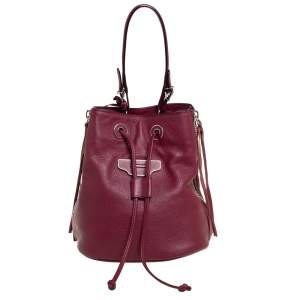 Balenciaga Bordeaux Leather Papier Plate Bucket Bag