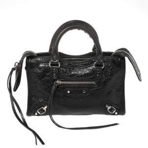 Balenciaga Black Leather Classic Nano City Tote Bag