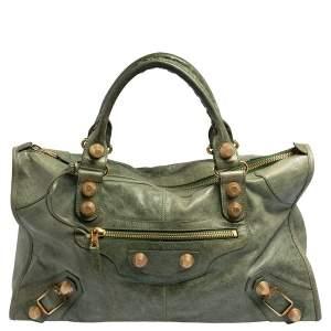 Balenciaga Green Leather Giant Work Bag