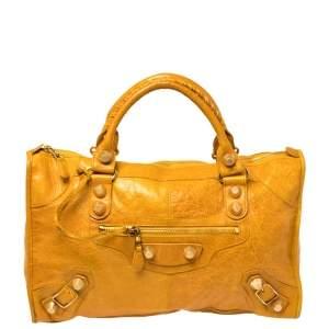 Balenciaga Mustard Leather GGH Work Tote