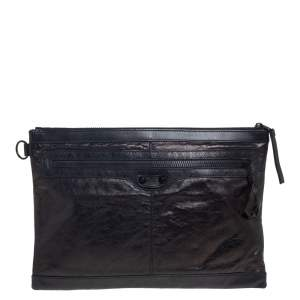 Balenciaga Black Leather Classic City Pouch