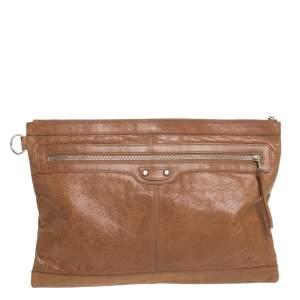 Balenciaga Caramel Leather Classic City Pouch
