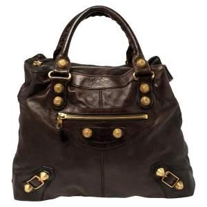 Balenciaga Castagna Leather GGH Brief Bag
